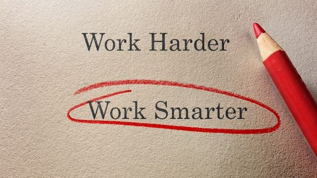 piece of paper with 'work smarter' circled in red pencil