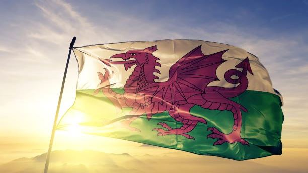 The welsh flag blowing in the wind in front of a sunset