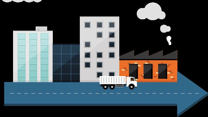 Illustration of a truck driving on a road past manufacturing plants